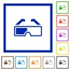 Retro 3d glasses flat color icons in square frames on white background - Retro 3d glasses flat framed icons