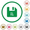 Ascending file sort flat icons with outlines - Ascending file sort flat color icons in round outlines on white background