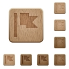 Flag wooden buttons - Flag on rounded square carved wooden button styles
