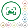 Camera landscape mode flat icons with outlines - Camera landscape mode flat color icons in round outlines on white background