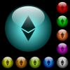 Ethereum digital cryptocurrency icons in color illuminated glass buttons - Ethereum digital cryptocurrency icons in color illuminated spherical glass buttons on black background. Can be used to black or dark templates