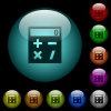 Pocket calculator icons in color illuminated glass buttons - Pocket calculator icons in color illuminated spherical glass buttons on black background. Can be used to black or dark templates