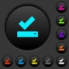 Successfully saved dark push buttons with color icons - Successfully saved dark push buttons with vivid color icons on dark grey background