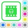 Movie audio vivid colored flat icons - Movie audio vivid colored flat icons in curved borders on white background