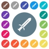 Sword flat white icons on round color backgrounds. 17 background color variations are included. - Sword flat white icons on round color backgrounds