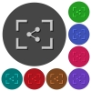 Camera share image icons with shadows on round backgrounds - Camera share image icons with shadows on color round backgrounds for material design