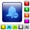 Reminder snooze color square buttons - Reminder snooze icons in rounded square color glossy button set