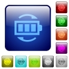 Rechargeable battery color square buttons - Rechargeable battery icons in rounded square color glossy button set