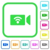 Wireless camera vivid colored flat icons - Wireless camera vivid colored flat icons in curved borders on white background