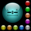 Audio balance control icons in color illuminated spherical glass buttons on black background. Can be used to black or dark templates - Audio balance control icons in color illuminated glass buttons