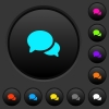 Discussion dark push buttons with vivid color icons on dark grey background - Discussion dark push buttons with color icons