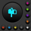 Mailbox dark push buttons with color icons - Mailbox dark push buttons with vivid color icons on dark grey background