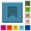 Bookmark engraved icons on edged square buttons - Bookmark engraved icons on edged square buttons in various trendy colors