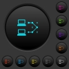 Traceroute remote computer dark push buttons with color icons - Traceroute remote computer dark push buttons with vivid color icons on dark grey background
