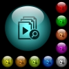 Find playlist item icons in color illuminated spherical glass buttons on black background. Can be used to black or dark templates - Find playlist item icons in color illuminated glass buttons