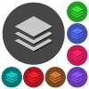Layers icons with shadows on round backgrounds - Layers icons with shadows on color round backgrounds for material design