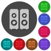 Speakers icons with shadows on round backgrounds - Speakers icons with shadows on color round backgrounds for material design