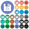 Cloud file round flat multi colored icons - Cloud file multi colored flat icons on round backgrounds. Included white, light and dark icon variations for hover and active status effects, and bonus shades on black backgounds.