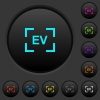 Camera exposure value setting dark push buttons with color icons - Camera exposure value setting dark push buttons with vivid color icons on dark grey background