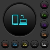 Syncronize mobile with computer dark push buttons with color icons - Syncronize mobile with computer dark push buttons with vivid color icons on dark grey background