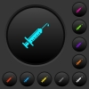 Syringe with drop dark push buttons with color icons - Syringe with drop dark push buttons with vivid color icons on dark grey background