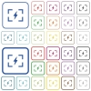 Camera flash mode outlined flat color icons - Camera flash mode color flat icons in rounded square frames. Thin and thick versions included.