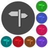 Signpost icons with shadows on round backgrounds - Signpost icons with shadows on color round backgrounds for material design