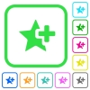 Add star vivid colored flat icons - Add star vivid colored flat icons in curved borders on white background