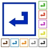 Return key flat color icons in square frames on white background - Return key flat framed icons