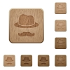 Incognito with mustache wooden buttons - Incognito with mustache on rounded square carved wooden button styles