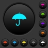 Umbrella dark push buttons with color icons - Umbrella dark push buttons with vivid color icons on dark grey background