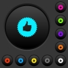 Thumbs up sticker dark push buttons with vivid color icons on dark grey background - Thumbs up sticker dark push buttons with color icons