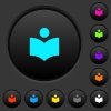 Library dark push buttons with color icons - Library dark push buttons with vivid color icons on dark grey background