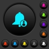 User reminder dark push buttons with vivid color icons on dark grey background - User reminder dark push buttons with color icons