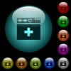 browser add new tab icons in color illuminated glass buttons - browser add new tab icons in color illuminated spherical glass buttons on black background. Can be used to black or dark templates