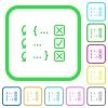 Debugging program vivid colored flat icons - Debugging program vivid colored flat icons in curved borders on white background