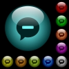 Delete comment icons in color illuminated glass buttons - Delete comment icons in color illuminated spherical glass buttons on black background. Can be used to black or dark templates