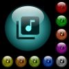 Music library icons in color illuminated spherical glass buttons on black background. Can be used to black or dark templates - Music library icons in color illuminated glass buttons