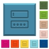 Entering login name and password engraved icons on edged square buttons - Entering login name and password engraved icons on edged square buttons in various trendy colors