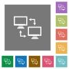 Data syncronization square flat icons - Data syncronization flat icons on simple color square backgrounds