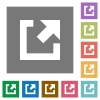 External link flat icons on simple color square backgrounds - External link square flat icons