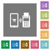 Mobile payment square flat icons - Mobile payment flat icons on simple color square backgrounds