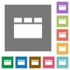 Horizontal tabbed layout square flat icons - Horizontal tabbed layout flat icons on simple color square backgrounds