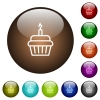 Birthday cupcake color glass buttons - Birthday cupcake white icons on round color glass buttons