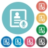 Contact voice calling flat white icons on round color backgrounds - Contact voice calling flat round icons