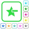 Remove star vivid colored flat icons - Remove star vivid colored flat icons in curved borders on white background
