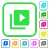 Video library vivid colored flat icons in curved borders on white background - Video library vivid colored flat icons