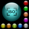 Camera iso speed setting icons in color illuminated spherical glass buttons on black background. Can be used to black or dark templates - Camera iso speed setting icons in color illuminated glass buttons