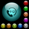 Emergency call 112 icons in color illuminated glass buttons - Emergency call 112 icons in color illuminated spherical glass buttons on black background. Can be used to black or dark templates