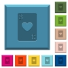 Three of hearts card engraved icons on edged square buttons - Three of hearts card engraved icons on edged square buttons in various trendy colors